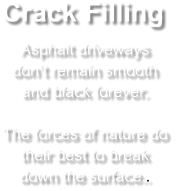 Crack Filling Asphalt driveways don't remain smooth and black forever.  The forces of nature do their best to break down the surface..